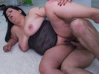 Busty plump matured amateur BBW Betina K. fucked in the office
