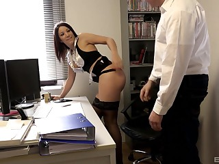 Maid slut Natalie Hot doggy fucked by the brush boss back the office
