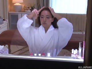 Japanese amateur brunette oiled up before a polluted fuck