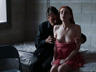 Perfectly shaped redhead Maya Kendrick sucks fat big load of shit before good mish