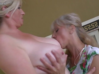 Four old and young lesbians having titties party