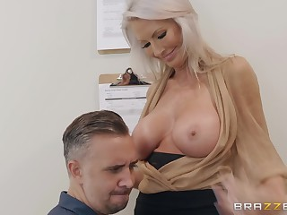 Mature blonde whore Emma Starr fucks a policewoman and swallows cum