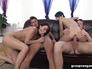 Wild DP orgy fun for promiscuous sluts Alisya Gapes plus Amy Ice up
