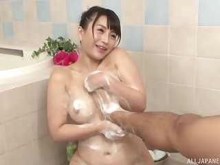 Soapy bathroom Japanese shag for chum around with annoy busty hot wife