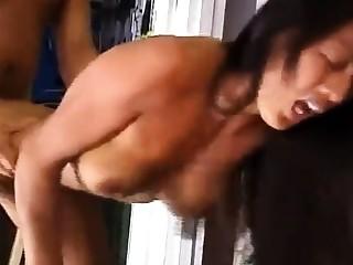 Asian sucks, fucks, gets a cumshot, sucks the cameraman