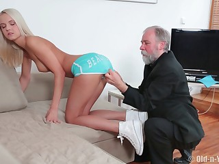 Blonde model Joleyn_Burst fucked vulnerable the sofa by an senior coxcomb