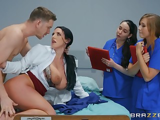 Naked MILF shows younger nurses how to go to a magic dick