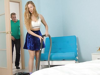 Having cleaned the room beauty far big tits Elison is poked missionary