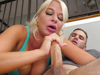 Blonde mom enjoys a unforeseen round of porn with her step son