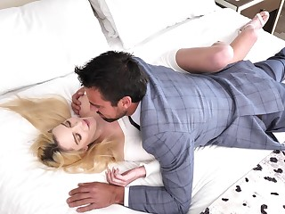 Sweet blonde rides dick and swallows sperm after a faultless foreplay