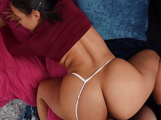 POV reverse cowgirl offers a great view of Adriana Maya's thunderous exasperation