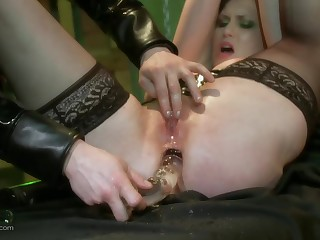 Deep throat and hard anal toy porn of the slave bitch