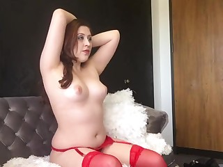 BTS Dispirited Chubby Goddess D - Red Lingerie with an increment of Imported Unconstrained Photoshoot Hew
