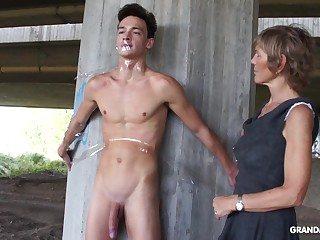 Nympho granny sucks a big cock be required of plighted naked guy