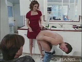 Double penetration threesome in the Nautical galley with tie the knot Jane Lixx
