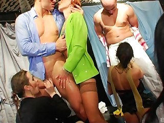 Wild group sex party with lot be incumbent on swinger couples who love to share