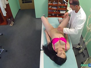 Doctor dicks Kirschley Swoon during a highly unconventional exam