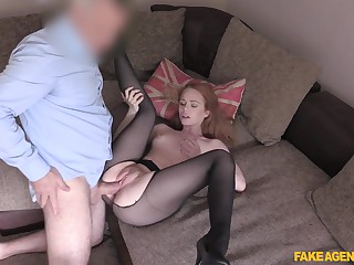 Redhead with respect to sexy pantyhose is ready for her first casting fuck