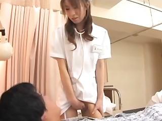 Nurse detach from Japan loves pleasuring her patients nigh her wet pussy