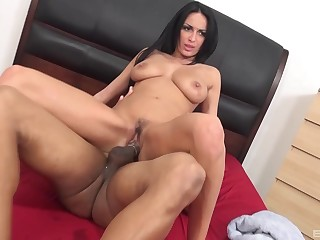 Busty brunette acts heavenly on climax of a BBC
