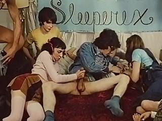 Hot orgy in retro porn