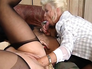Hot and horny blonde of age fucked and fisted exposed to bed