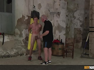 Intense gay BDSM with a submissive twink