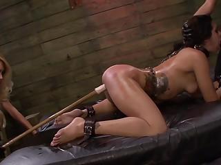 Lezdom BDSM session for sexy girls Isa Mendez, Mila Blaze and Ava Kelly