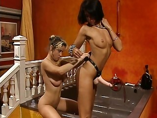 Strapon lesbians rendered helpless pussy and rimming before fuck