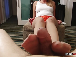 Since I couldn't cum from her footjob, she used her hands to finish me off.