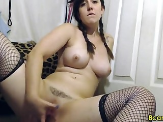 Order about girlfriend fingering her pussy adjacent to fishnet on cam