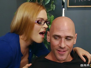 Interesting secretary Krissy Lynn loves having sex on burnish apply office table