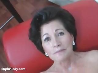 Dispirited granny with heavy makeup exhibit on cam