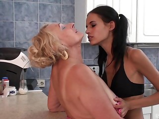 Pleasure for granny once the skinny niece gets intimate